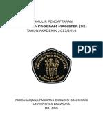 Formulir Pendaftaran S2 2013 2014