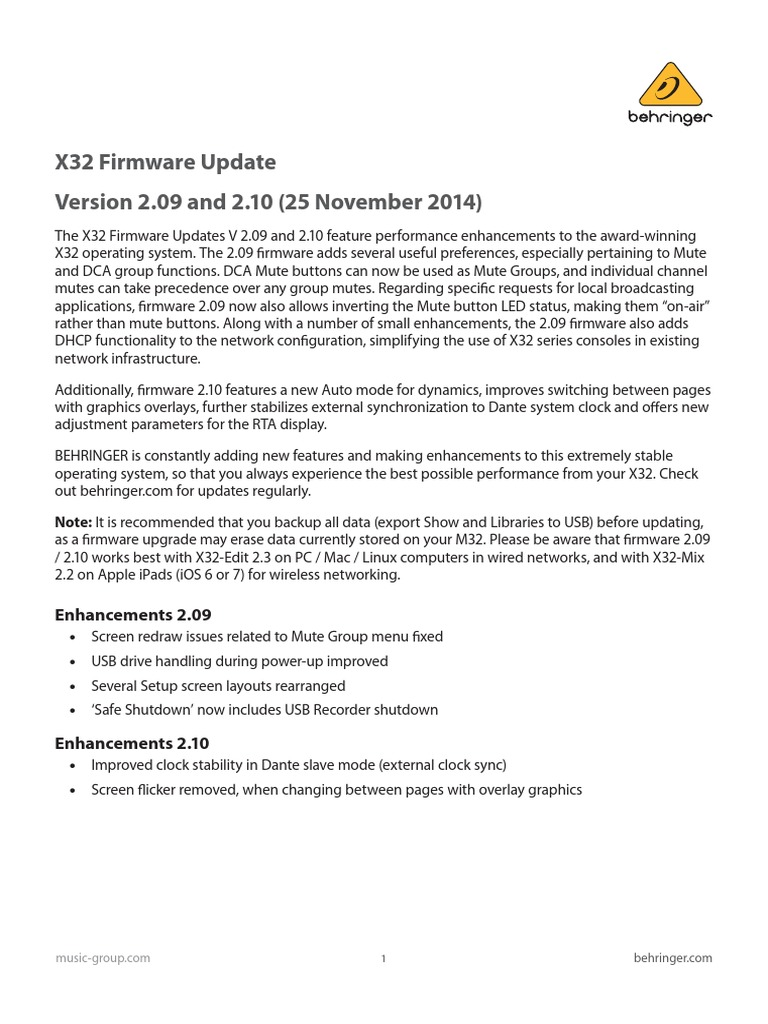X32 Firmware_Update | Operating System | Usb