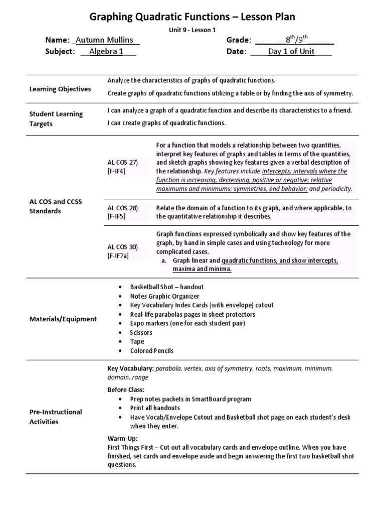Master Unit Plan All Lesson Plans Compiled Quadratic Equation