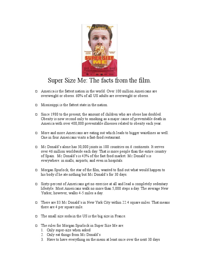 Super Size Me Facts Sheet Mc Donald S Obesity