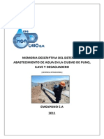 Memoria Descriptiva Del Sistema de Abastecimiento de Agua en La Ciudad de Puno