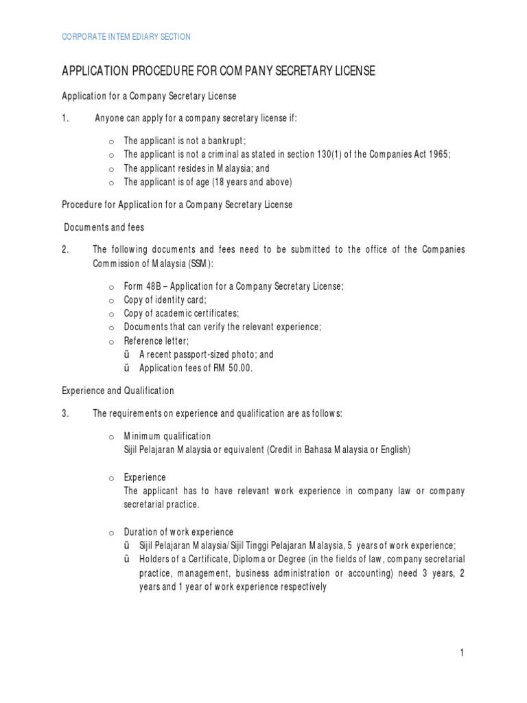 application procedure for company secretary licence continuing application procedure for company secretary licence continuing professional development license