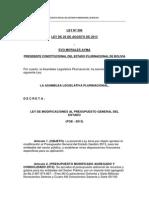 Ley Nº 396 Modificaciones Al Presupuesto General Del Estado