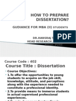 How to Prepare Dissertation -Mba