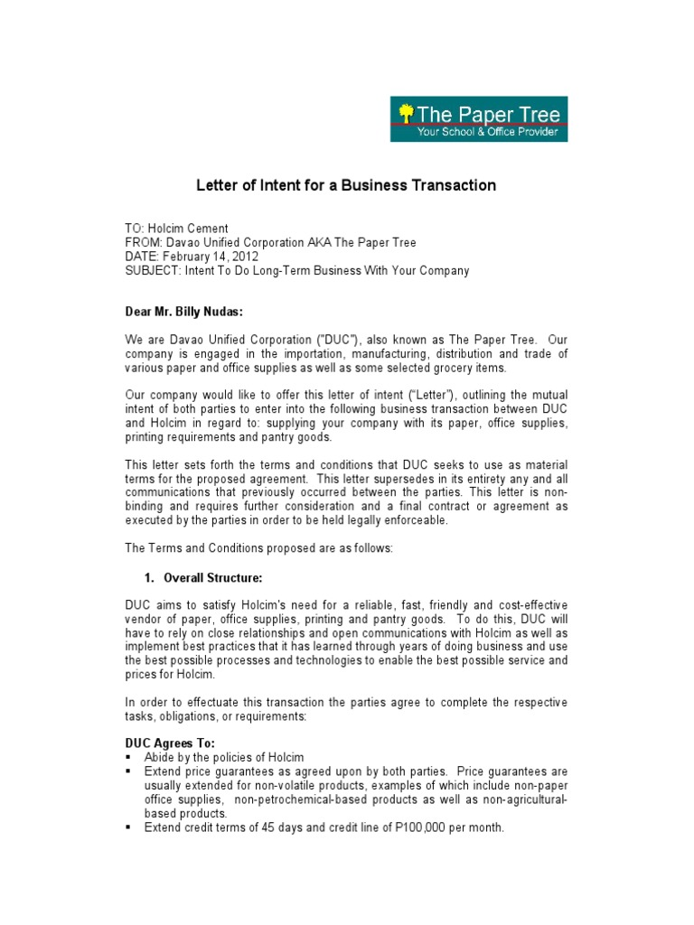 Letter of Intent for a Business Transaction – Business Letter of Intent