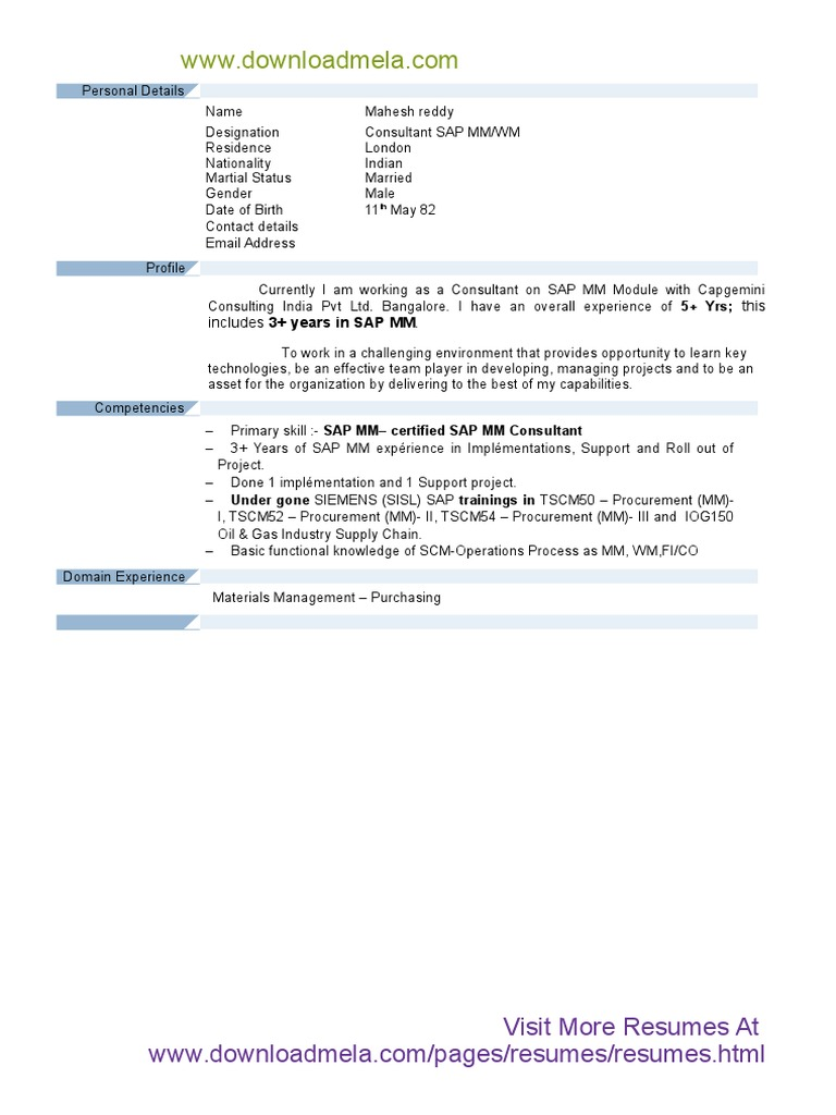 Resume   SAP   hemant        Area Sales Manager Cover Letter SAP MM Consultant Sample Resume