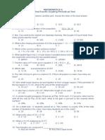 4th Periodical Test in Math 6