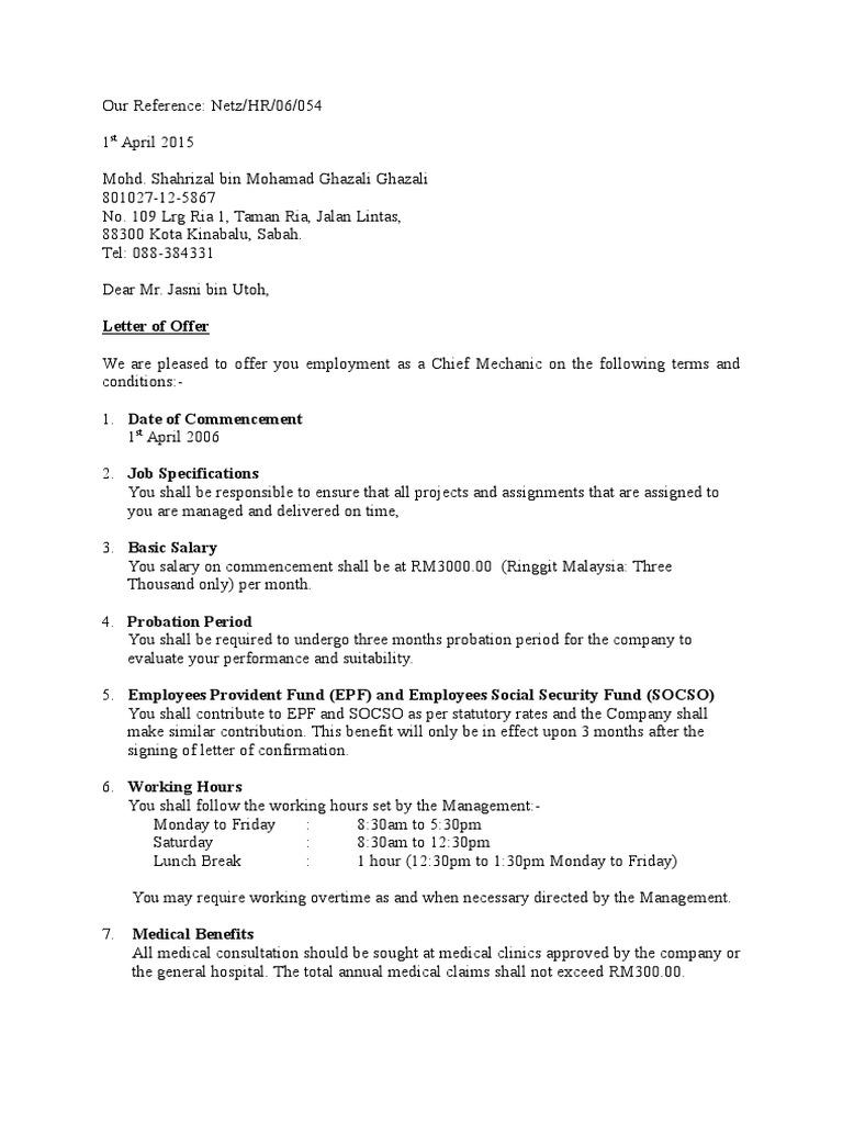 Surat Perjanjian Kerja Contoh Working Time Contractual Term
