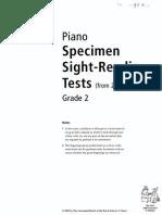 Grade 2 Piano Specimen Sight-Reading Tests 2009