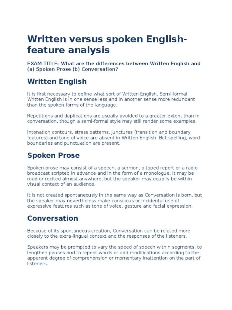 Written Versus Spoken English   Perfect (Grammar)   English Language