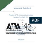 Sintesis de Un Compuesto de Coordinacion Cloruro de Hexaamin Cobalto III
