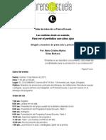 Memorias -taller de inducción a Prensa Escuela para maestros de preescolar y primaria. Febrero 13 de 2015
