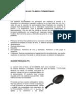 Caracteristicas de Los Polimeros Termoestables