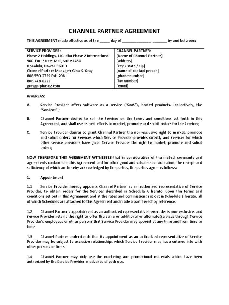 Partner Contract Sample Unitedijawstates