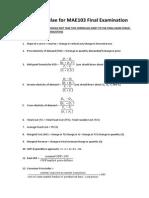 Helpful Formulae for MAE103 Final Examination (1)