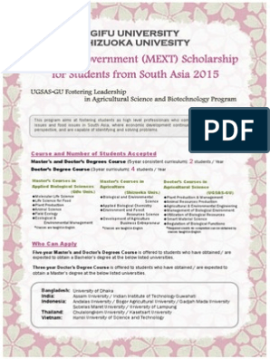 MEXT Scholarship for students from South Asia 2015 pdf