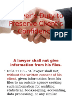 Lawyer's Duty to Preserve Client's Confidence