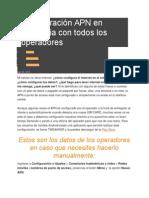 Configuración APN en Colombia Con Todos Los Operadores