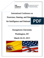 Exercises, Gaming, and Simulations for Intelligence and National Security Conference Program