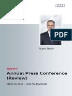 Rupert Stadler - Annual Press Conference 2015