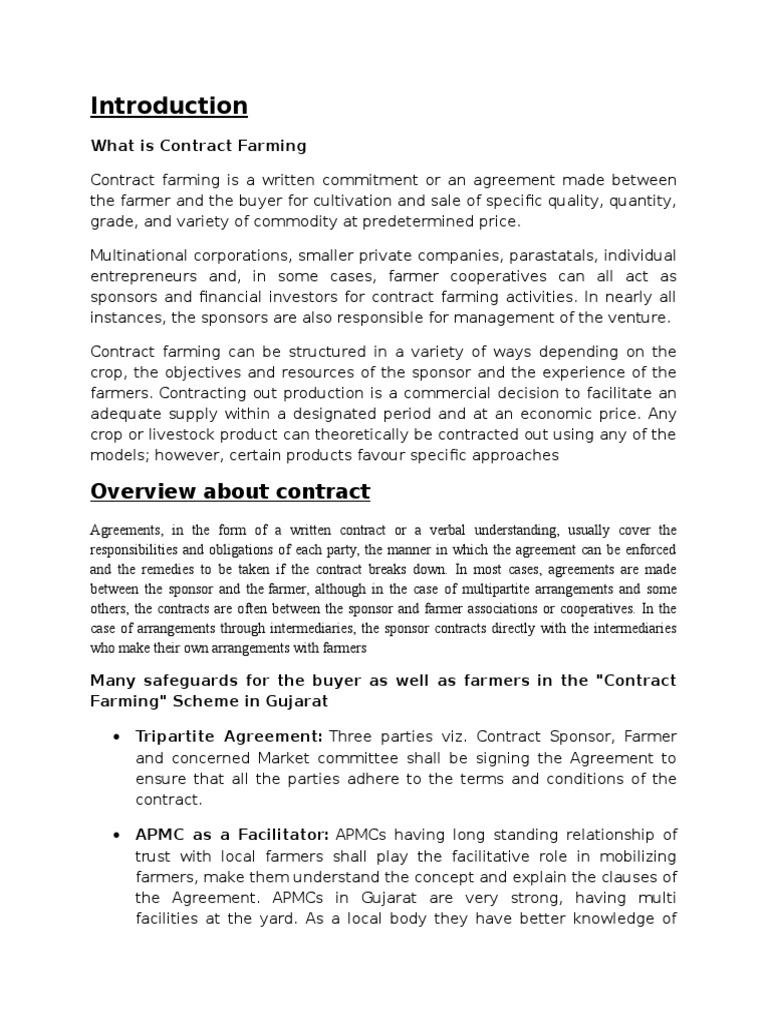 Contract Farmingcx Agriculture Business