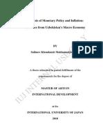 Analysis of Monetary Policy and Inflation Evidence From Uzbekistan's Macro Economy