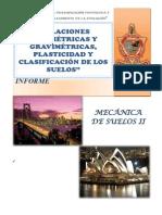 Relaciones Volumétricas y Gravimétricas, Plasticidad y Clasificación de Los Suelos