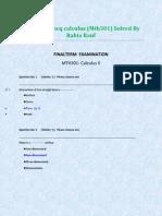 Calculus II - MTH301 Solved Mcqs