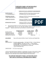 ADULT SOFTBALL INFORMATION SHEET