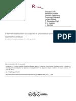 Internationalisation Du Capital Et Processus Productif