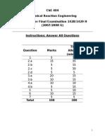 ChE 404 Final 2nd Semester 1428-1429