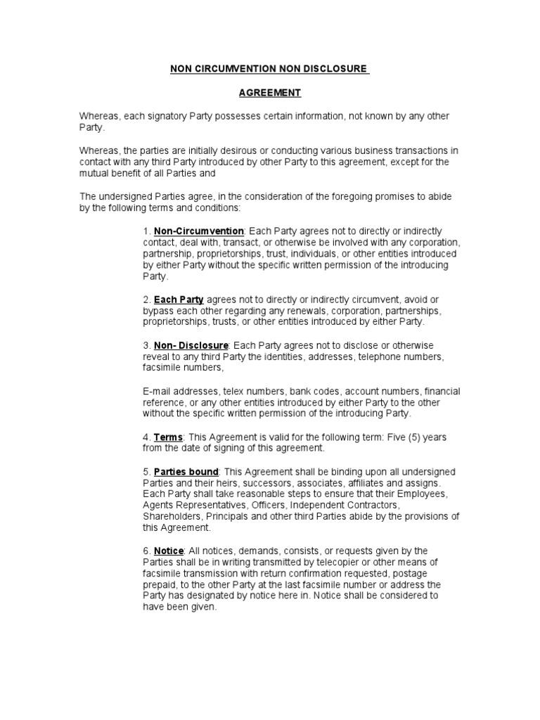 Non Circumvention Non Disclosure Arbitration Common Law
