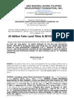 20 Million Fake Land Titles and Beyond