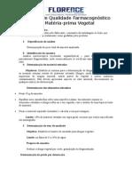 Controle de Qualidade Farmacognóstico de Matéria