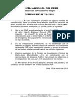 Comunicado PNP Nº 21 - 2015