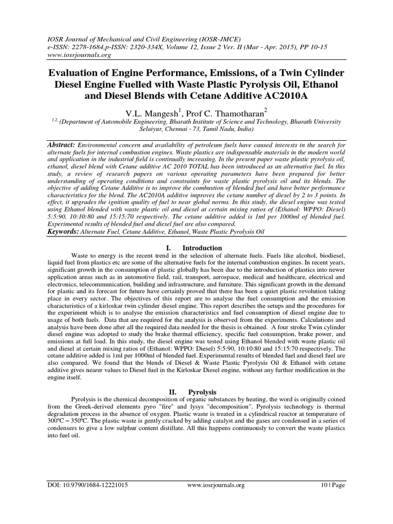 Evaluation of Engine Performance, Emissions, of a Twin Cylinder