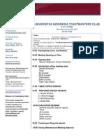 Agenda UI Toastmasters Club - Januari 29
