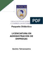 Modelo de Paquete Didã-ctico de Licenciatura