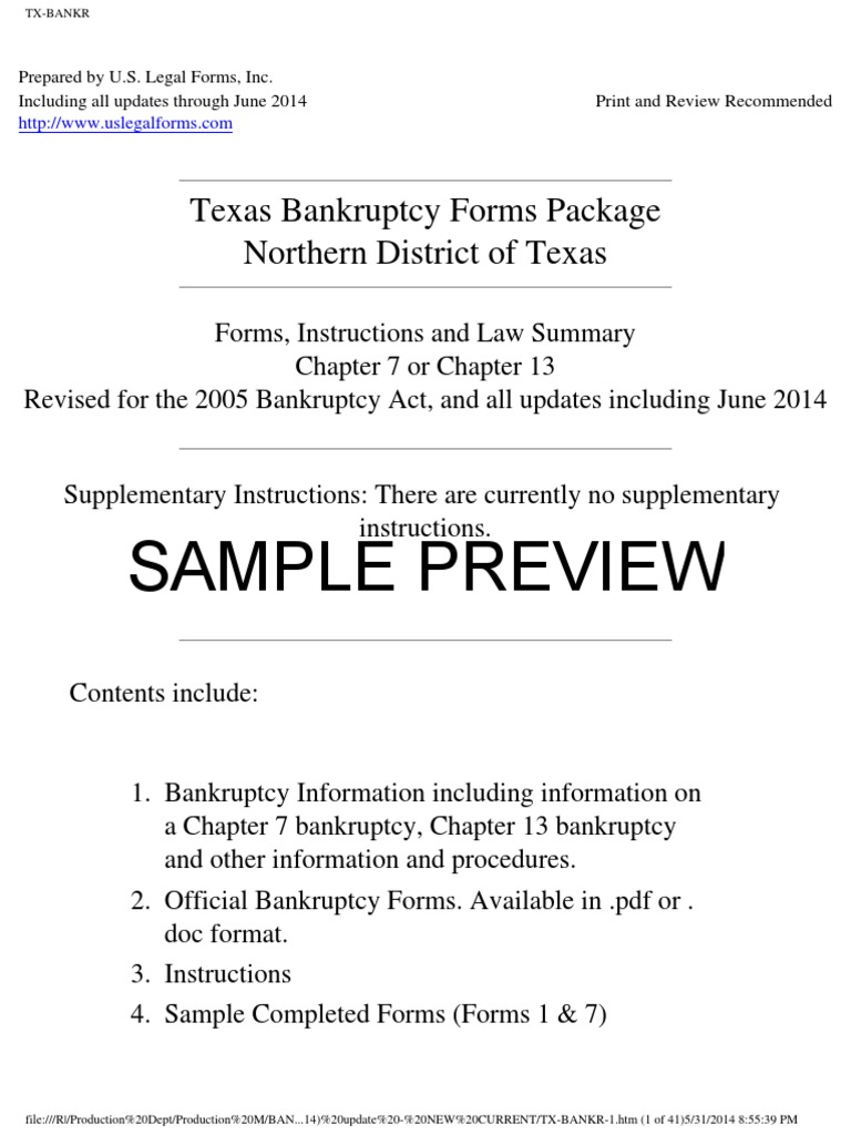 Tx Bankr 1 Chapter 7 Bankruptcy