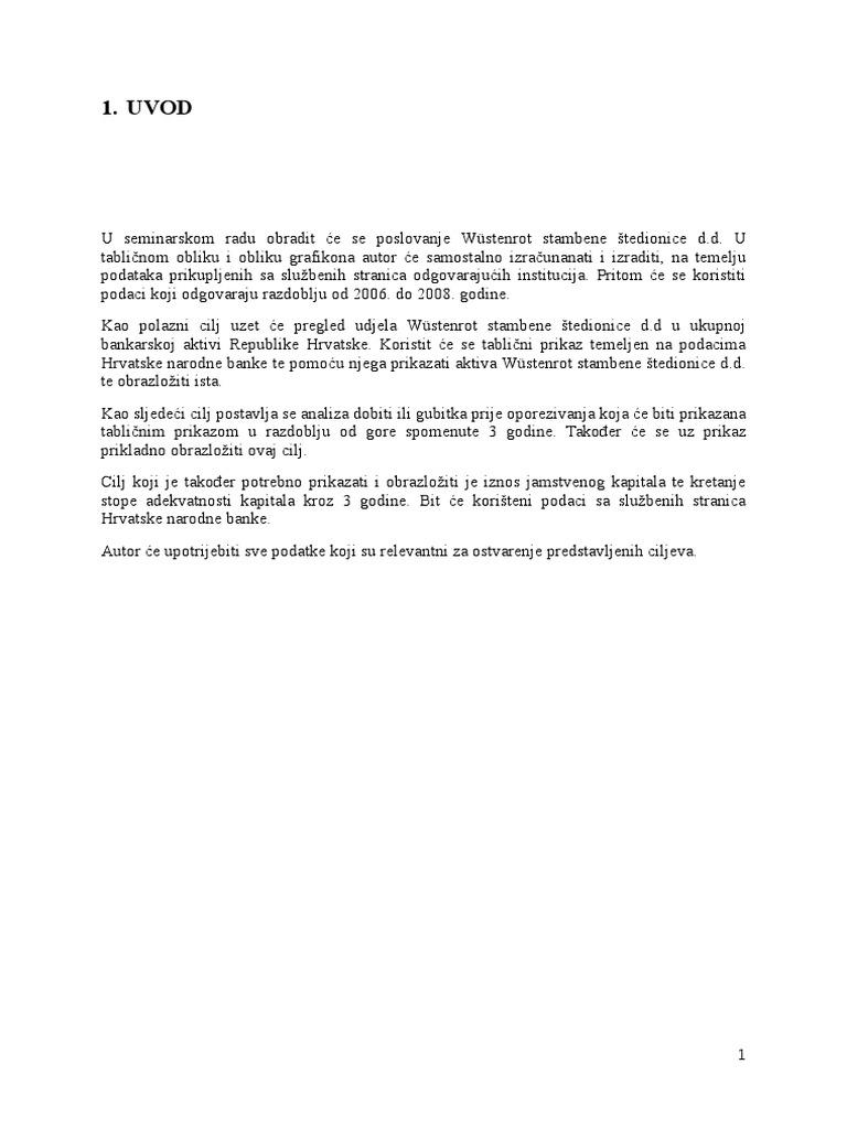 Analiza Poslovanja Wüstenrot Stambene štedionice Dd