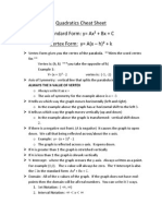 quadratics cheat sheet