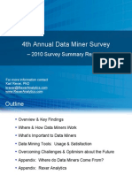 Rexer Analytics 2010 Data Miner Survey Summary Report