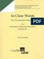 In Clear Words - The Prasannapadā, Chapter One Vol I - Introduction, Manuscript Description, Sanskrit Text
