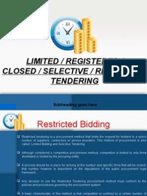 closed tendering | Procurement | Economies