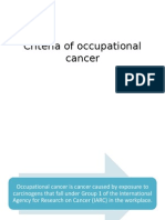 Criteria of Occupational Cancer