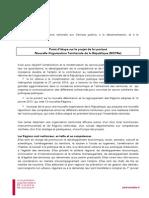 Point d'étape sur le projet de loi portant Nouvelle Organisation Territoriale de la République (NOTRe)