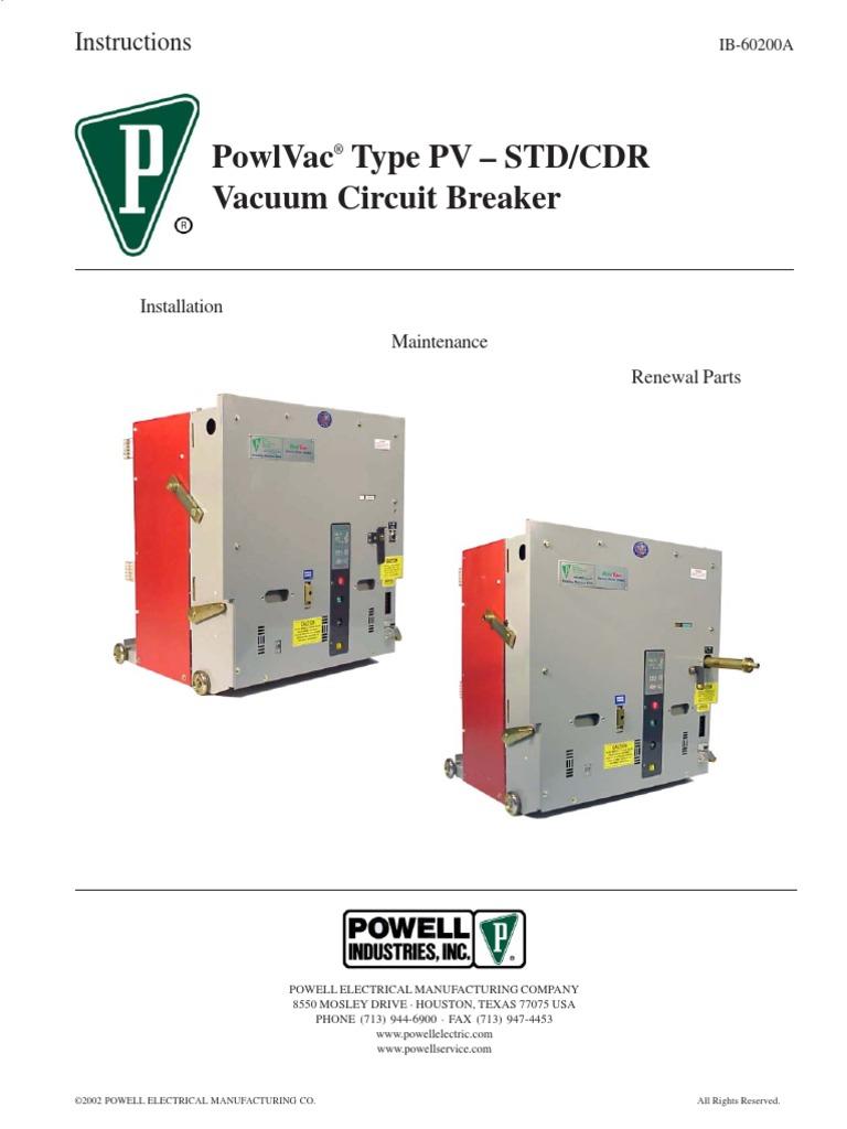 Interruptores Powell Type Pv-std-cdr IB-60200A.pdfiB-60200A | Relay ...