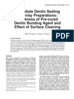 2005_Stavridakis_Immediate Dentin Sealing of Onlay Preparations - Thickness of Pre-cured Dentin Bonding Agent and Effect of Surface Cleaning