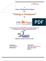 ING Vysya Life Insurance project report on Training and Devlopment