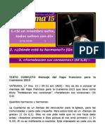 Mensaje Del Papa Francisco Para La Cuaresma 2015